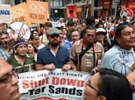 Leonardo DiCaprio and Mark Ruffalo join tens of thousands crowd New York streets for climate march